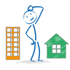 Stickman Thinking Apartment Or House