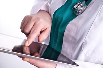 Female Doctor using a Digital Tablet