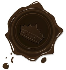 Illustration of wax grunge brown seal with crown