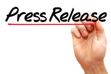 Hand writing Press Release with marker, business concept