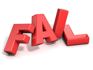 Fail concept. Red letters isolated over white background. 3D