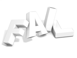 Fail concept. White letters isolated over white background. 3D