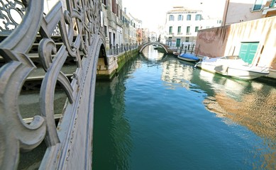 reflection on the water of the colorful houses of Venice in Ital