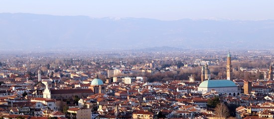 Vicenza, Italy, Panorama of the city and the houses of the downt