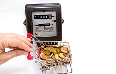 shopping cart full of European money and the meter
