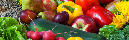 Fotobehang Keuken Fruits and vegetables mixed together