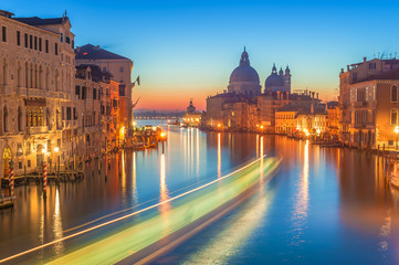 The beautiful night view of the famous Grand Canal in Venice, It