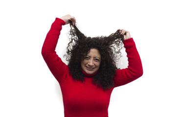 Woman pulling their hair