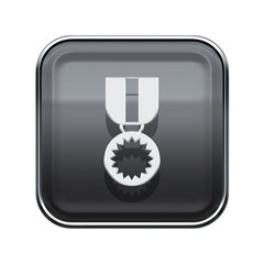 medal icon glossy grey, isolated on white background.