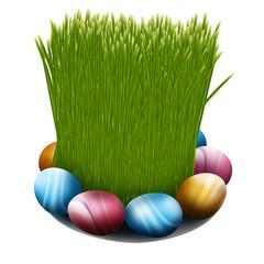 зеленая трава пшеницы и крашеные яйца на тарелке