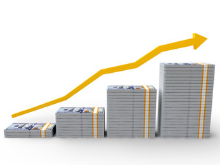 100 dollar bills with rising arrow