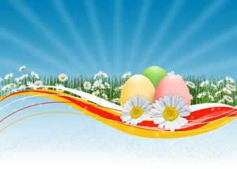 пасхальный фон с крашеными яйцами