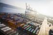 Leinwanddruck Bild - Containerterminal, Hafen, Deutschland, Hamburg