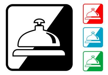 Icono simbolo timbre hotel en varios colores