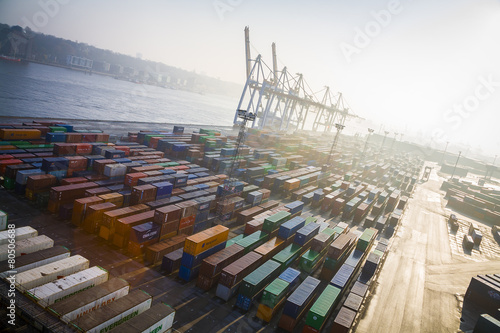 Fotobehang Poort Containerterminal, Hafen, Deutschland, Hamburg
