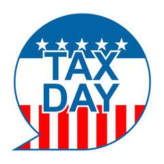 Icono texto TAX DAY con fondo bandera americana