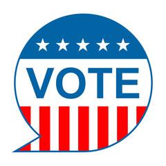 Icono texto VOTE con fondo bandera americana