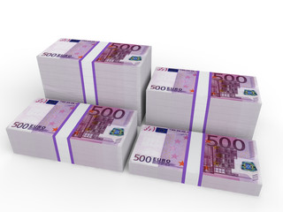 Stacks of Euro notes