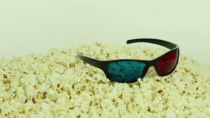 Popcorn and anaglyph 3D glasses