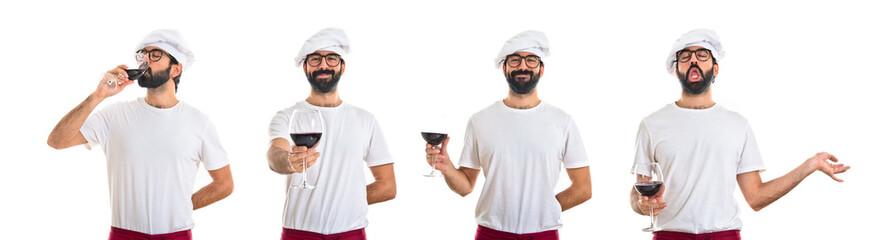 Chef holding wine glass