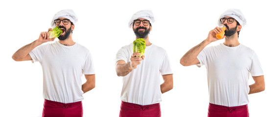 Chef holding a lettuce