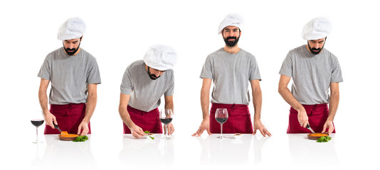 Chef with wine and nuts