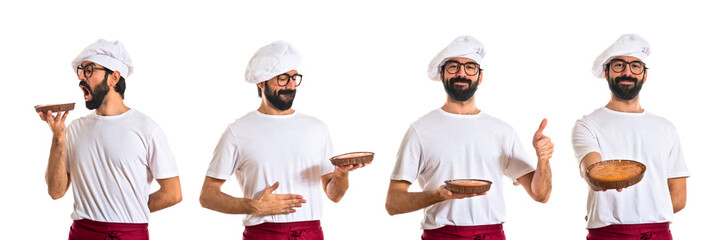 Chef eating a cake