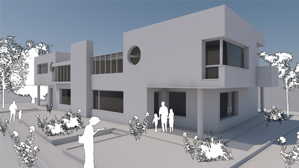 Edificio residenziale 3D bianco