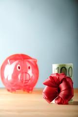 100 euro und sparschwein