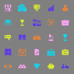 Asset and property icons on gray background