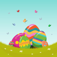 Easter vector with eggs in meadow
