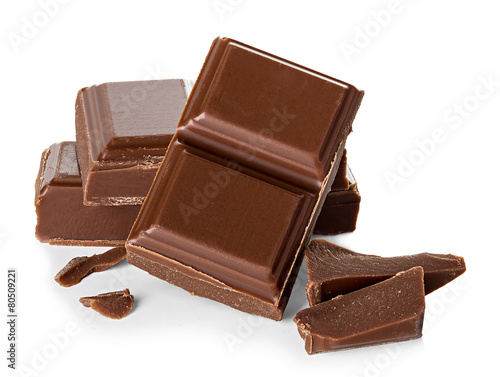 Leinwandbild Motiv chocolate bars isolated on white background