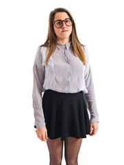 Posh girl over white
