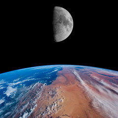 Algeria, Tunisia & Libya with the Moon.
