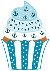 Cute blue cupcake with anchor