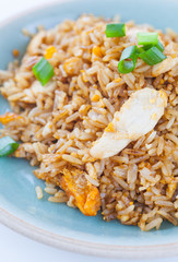Healthy food fried rice chicken with egg and green onion