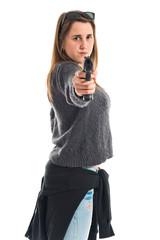 Girl making with gun