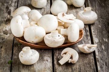 raw fresh mushrooms in  the bowl