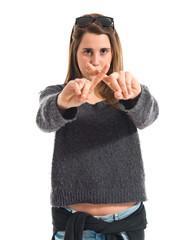 Girl doing NO gesture
