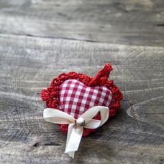 handmade knitted heart shape