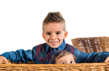 Brothers baby inside basket