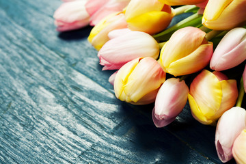 Bouquet of beautiful pink and yellow tulips