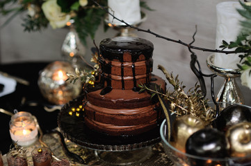 chocolate wedding cake on a platter