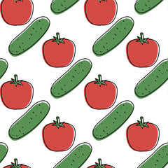 Seamless background with tomatoes and cumbers