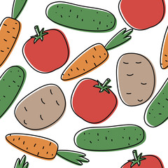 Seamless background with tomatoes,cumbers, potatoes and carrots