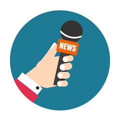 Voice recorder vector icon. Live news. Press illustration.
