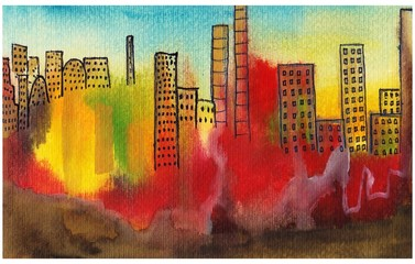 Polluted city. Watercolors on paper