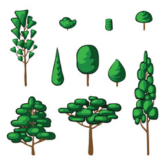 Vector collection of green trees and bush. Icons set