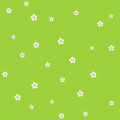 Seamless floral pattern on a green background. Vector