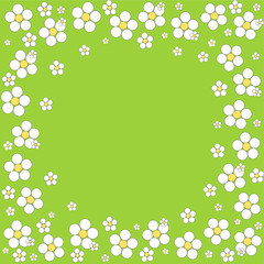 Floral frame on a green background. Vector